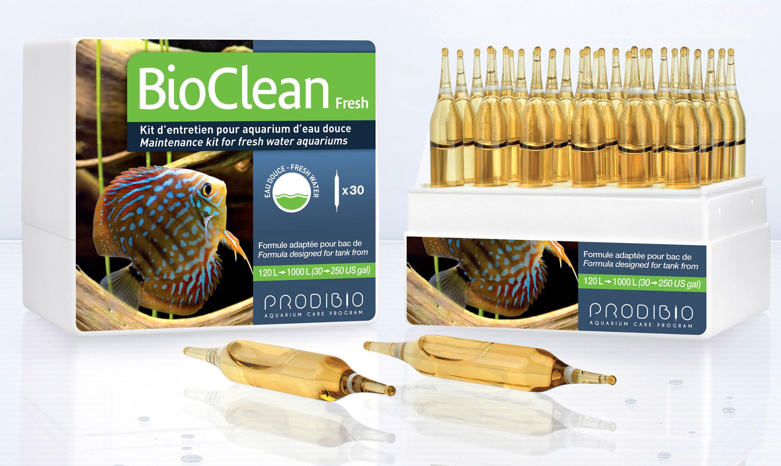 PRODIBIO BioClean Fresh 30 ampoules nettoie l\'aquarium et élimine naturellement les algues en eau douce. Traite jusqu\'à 6000 L