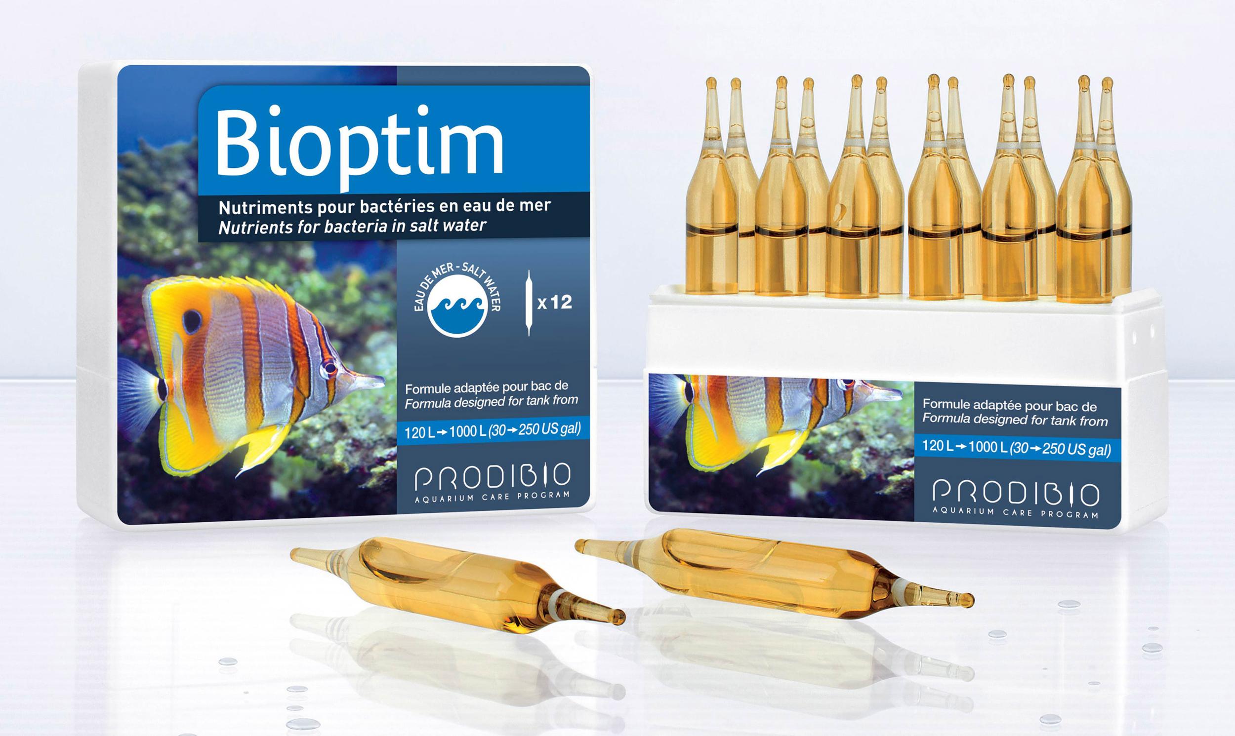 PRODIBIO BioPtim 12 ampoules complément bactérien en ampoules pour eau de mer. Traite jusqu\'à 2400 L