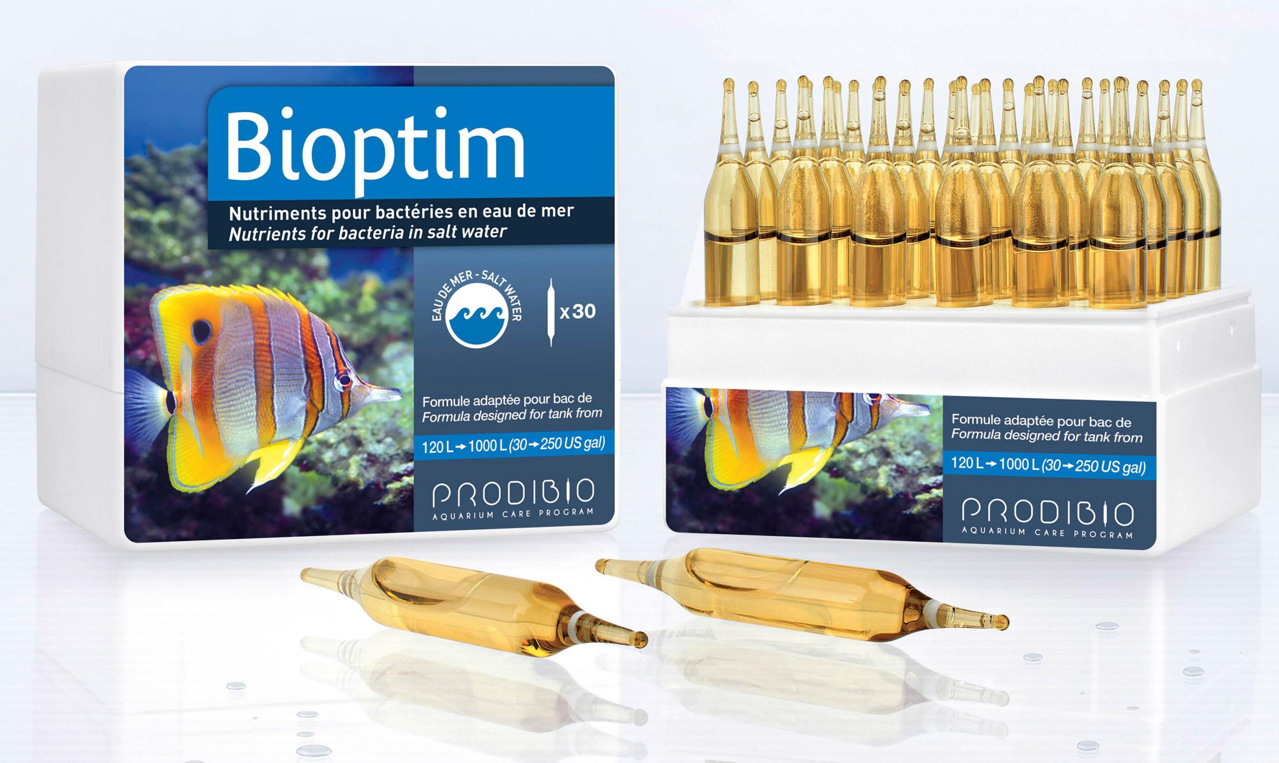 PRODIBIO BioPtim 30 ampoules complément bactérien en ampoules pour eau de mer. Traite jusqu\'à 6000 L
