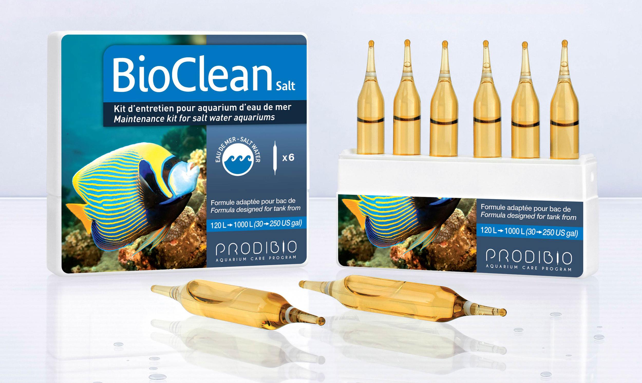 PRODIBIO BioClean Salt 6 ampoules nettoie l\'aquarium et élimine naturellement les algues en eau de mer. Traite jusqu\'à 1200 L
