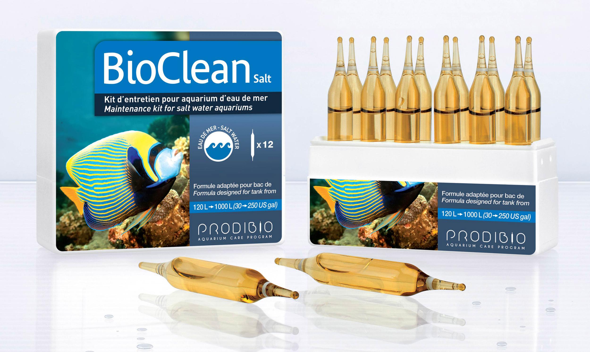 PRODIBIO BioClean Salt 12 ampoules nettoie l\'aquarium et élimine naturellement les algues en eau de mer. Traite jusqu\'à 2400 L