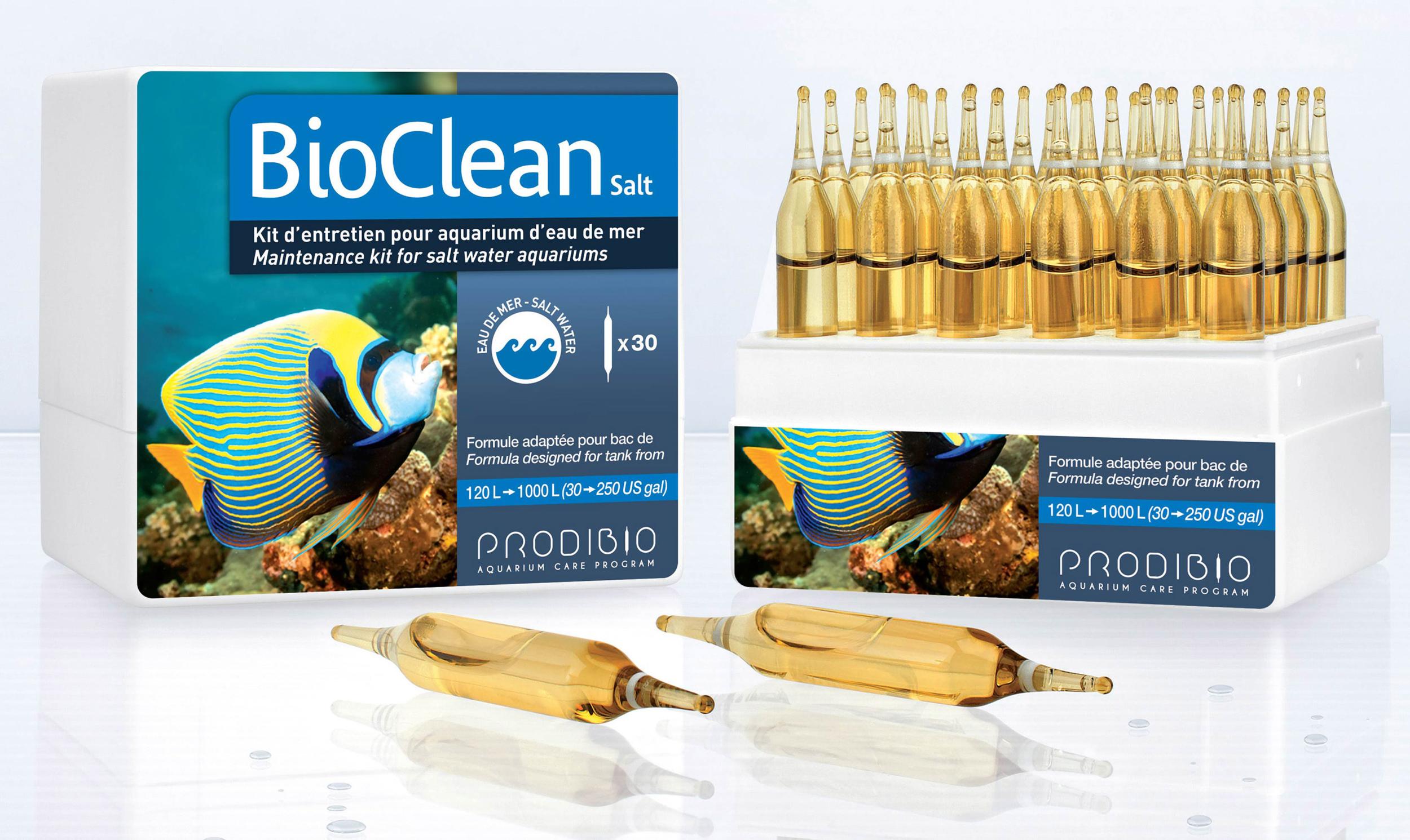 PRODIBIO BioClean Salt 30 ampoules nettoie l\'aquarium et élimine naturellement les algues en eau de mer. Traite jusqu\'à 6000 L