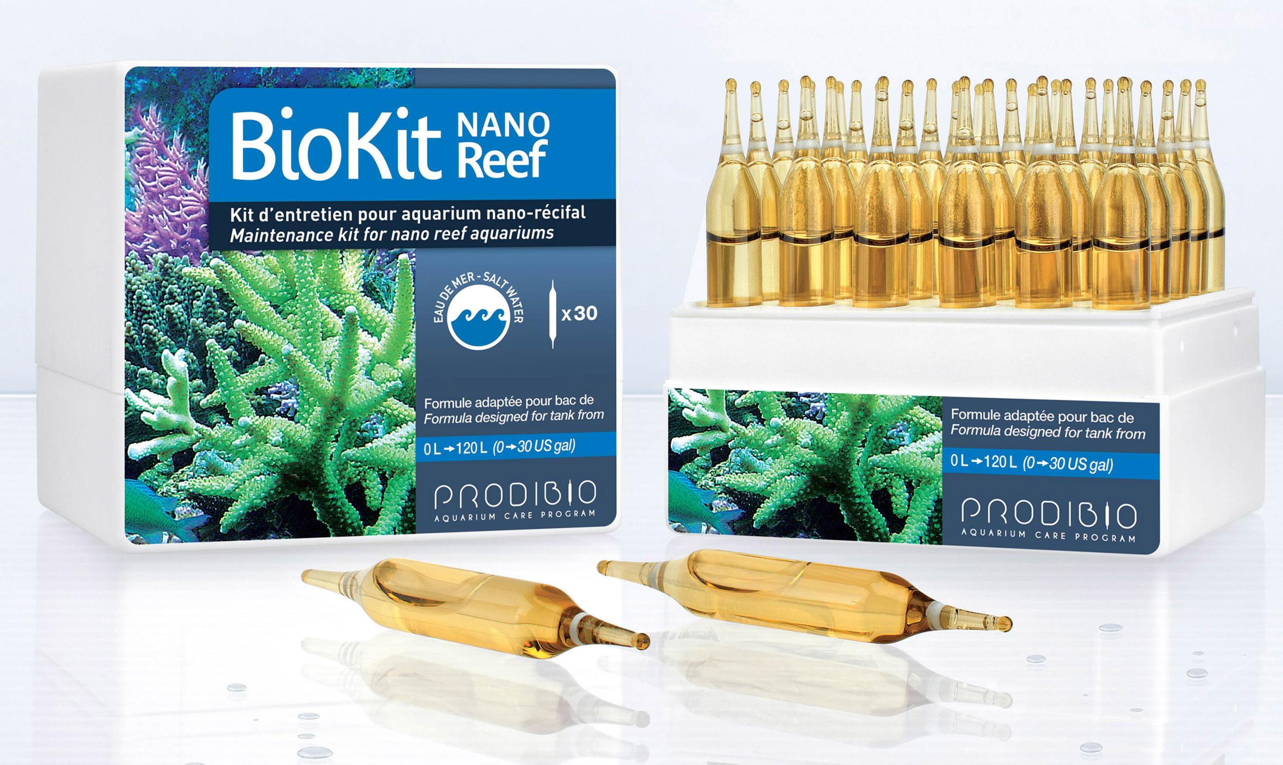 PRODIBIO BioKit Nano Reef 30 ampoules kit d\'entretien complet spécial nano récifs.