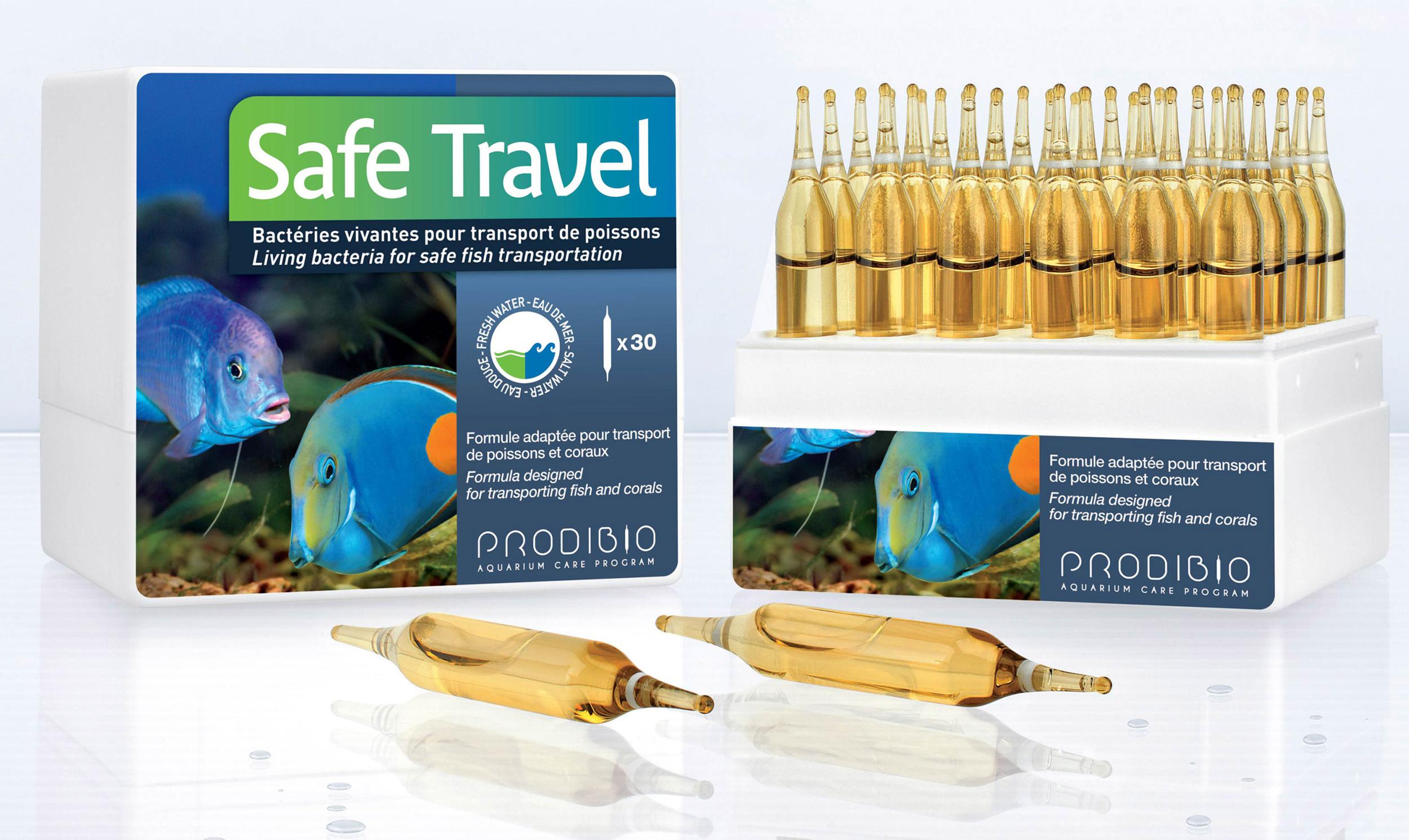 PRODIBIO Safe Travel 30 ampoules réduit le stress des poissons et combat les bactéries durant le transport. Traite jusqu\'à 300 L