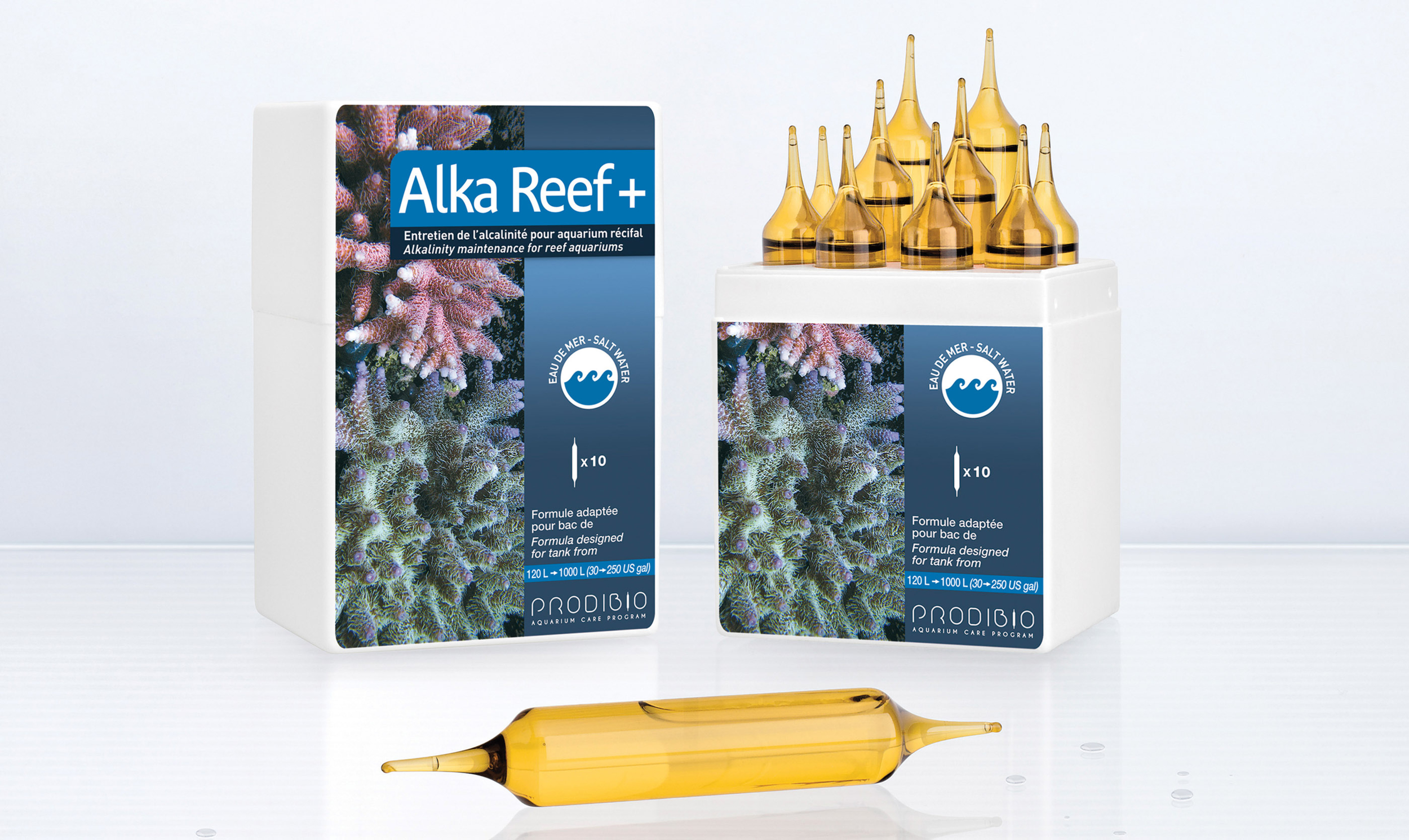 PRODIBIO AlkaReef + 10 ampoules x 10ml Maintient l\'alcalinité à son niveau optimum en récifal. Traite jusqu\'à 1200 L
