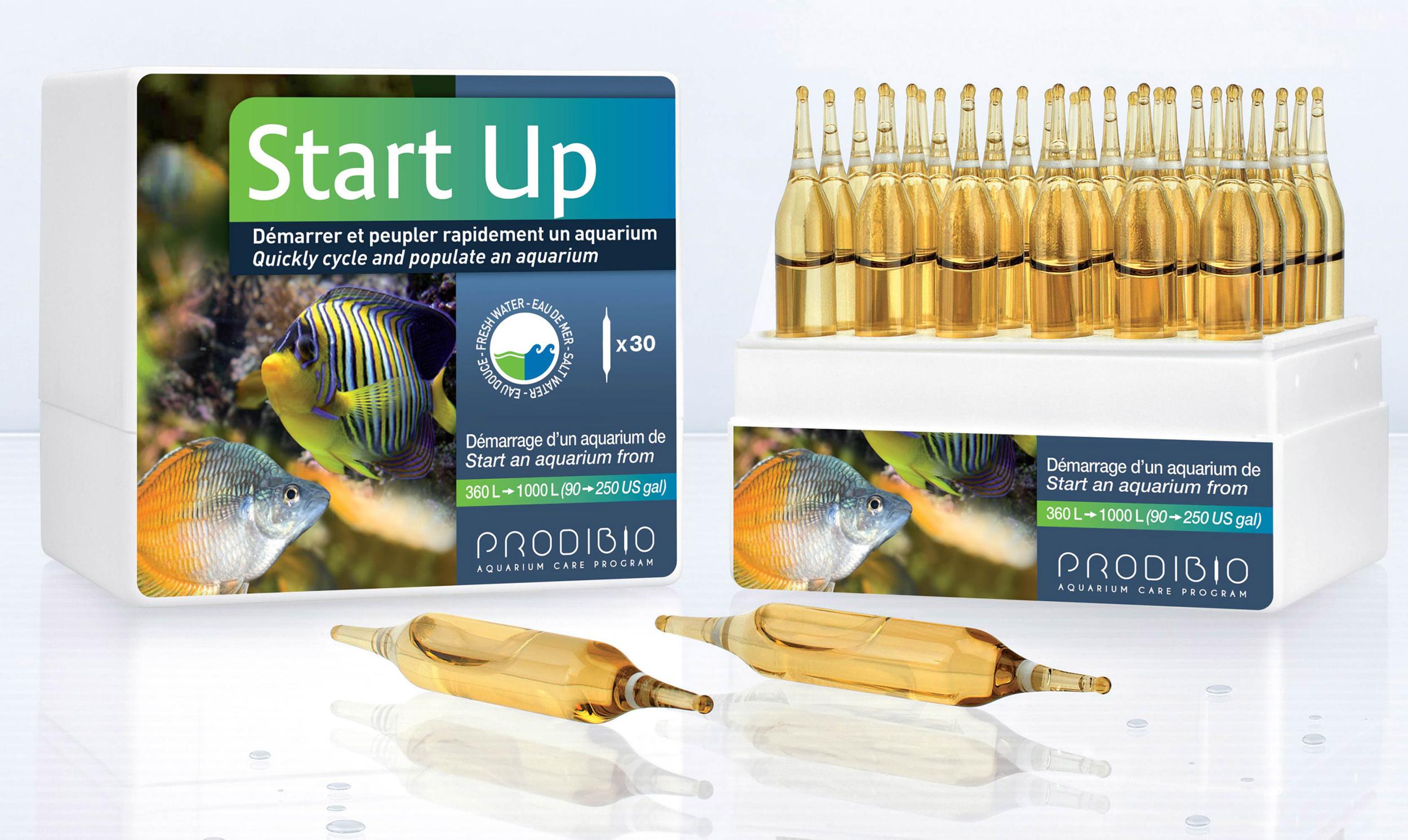 PRODIBIO Start Up 30 ampoules pour un démarrage plus rapide de votre aquarium. Pour bac de 360 à 1000 L