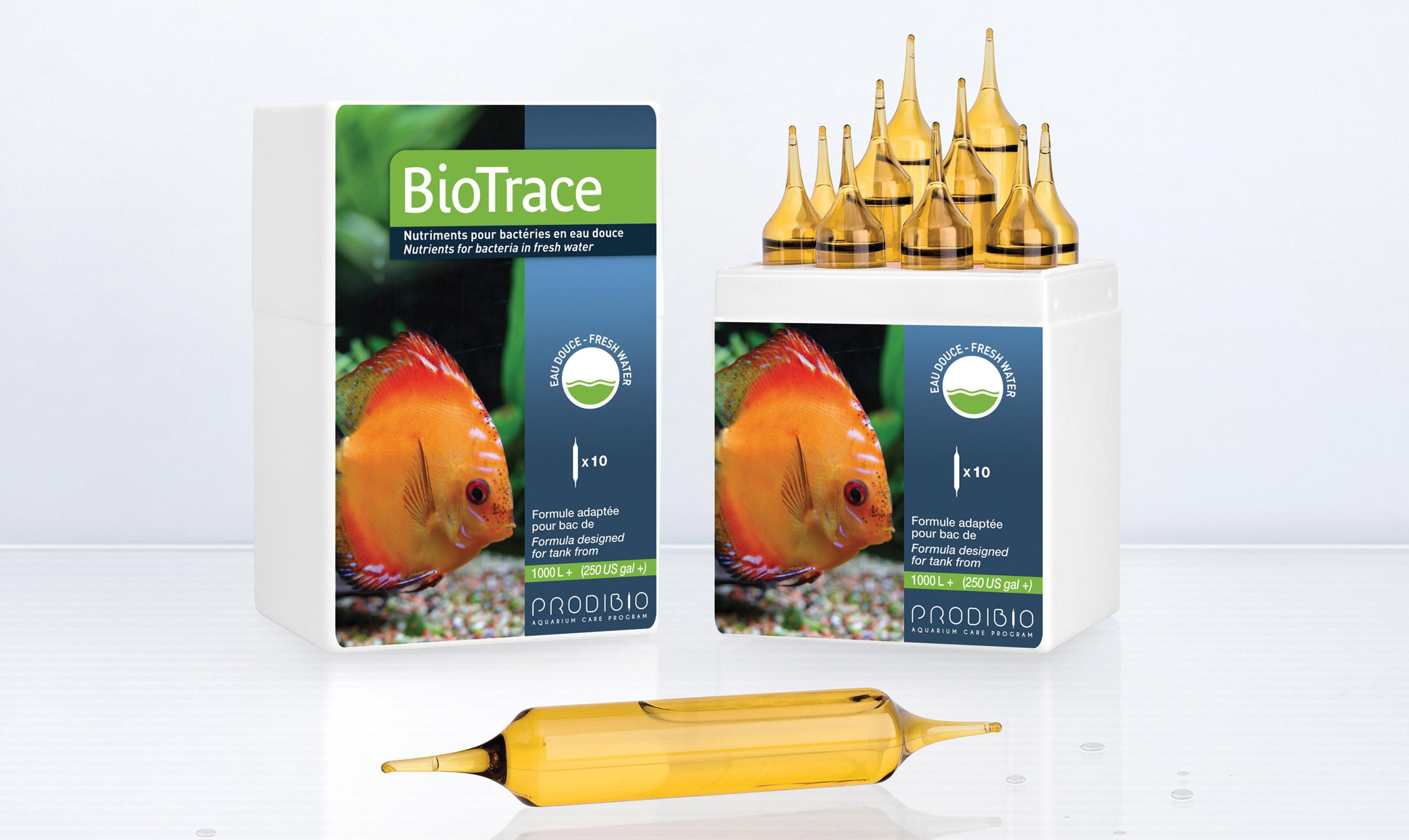 PRODIBIO BioTrace Pro 10 ampoules x 10ml apporte tous les micro-éléments nécessaires à la vie de l?aquarium d\'eau douce. Traite jusqu\'à 20000 L