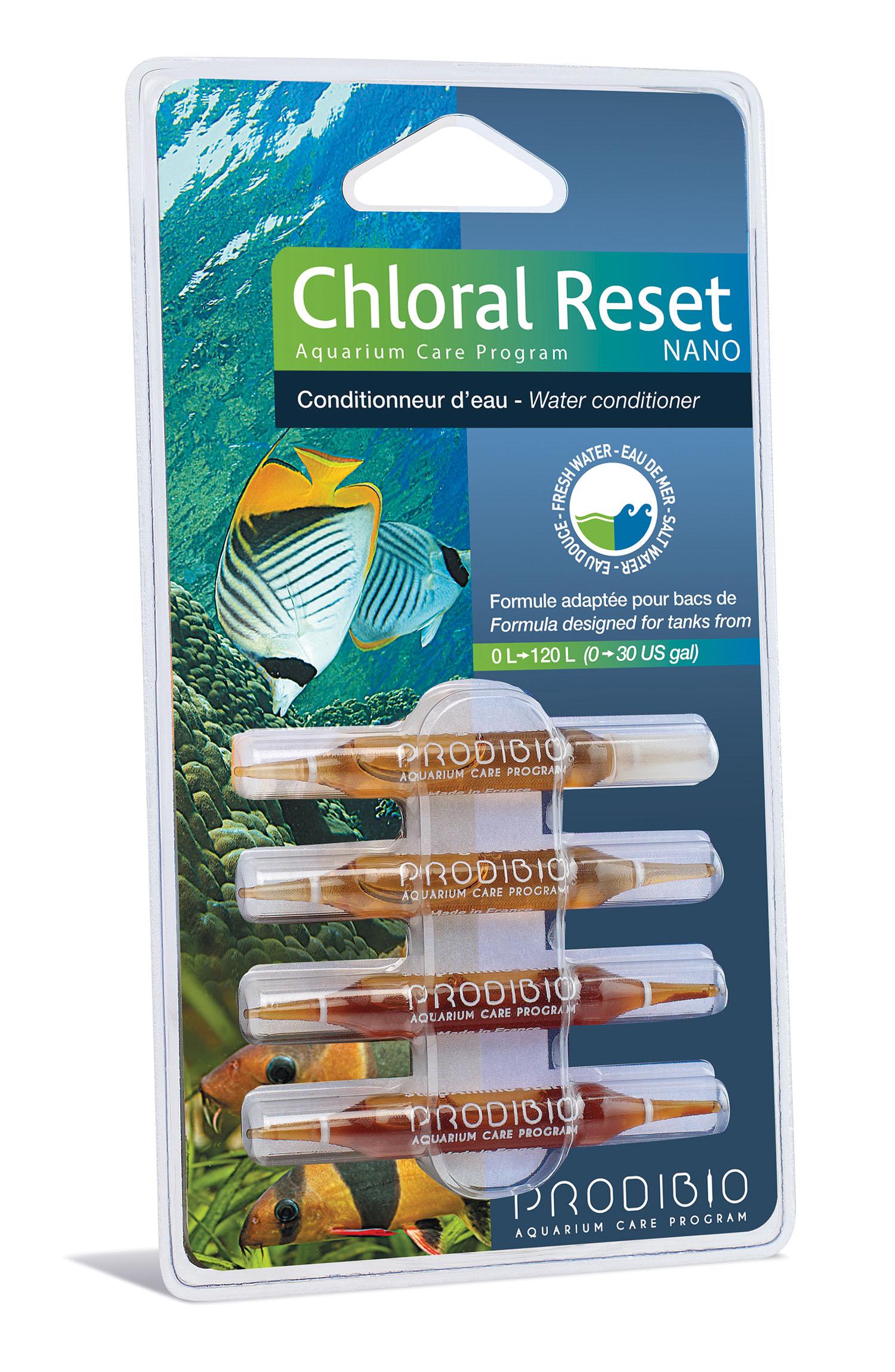 PRODIBIO Chloral Reset Nano 4 ampoules conditionneur d\'eau pour eau douce et eau de mer