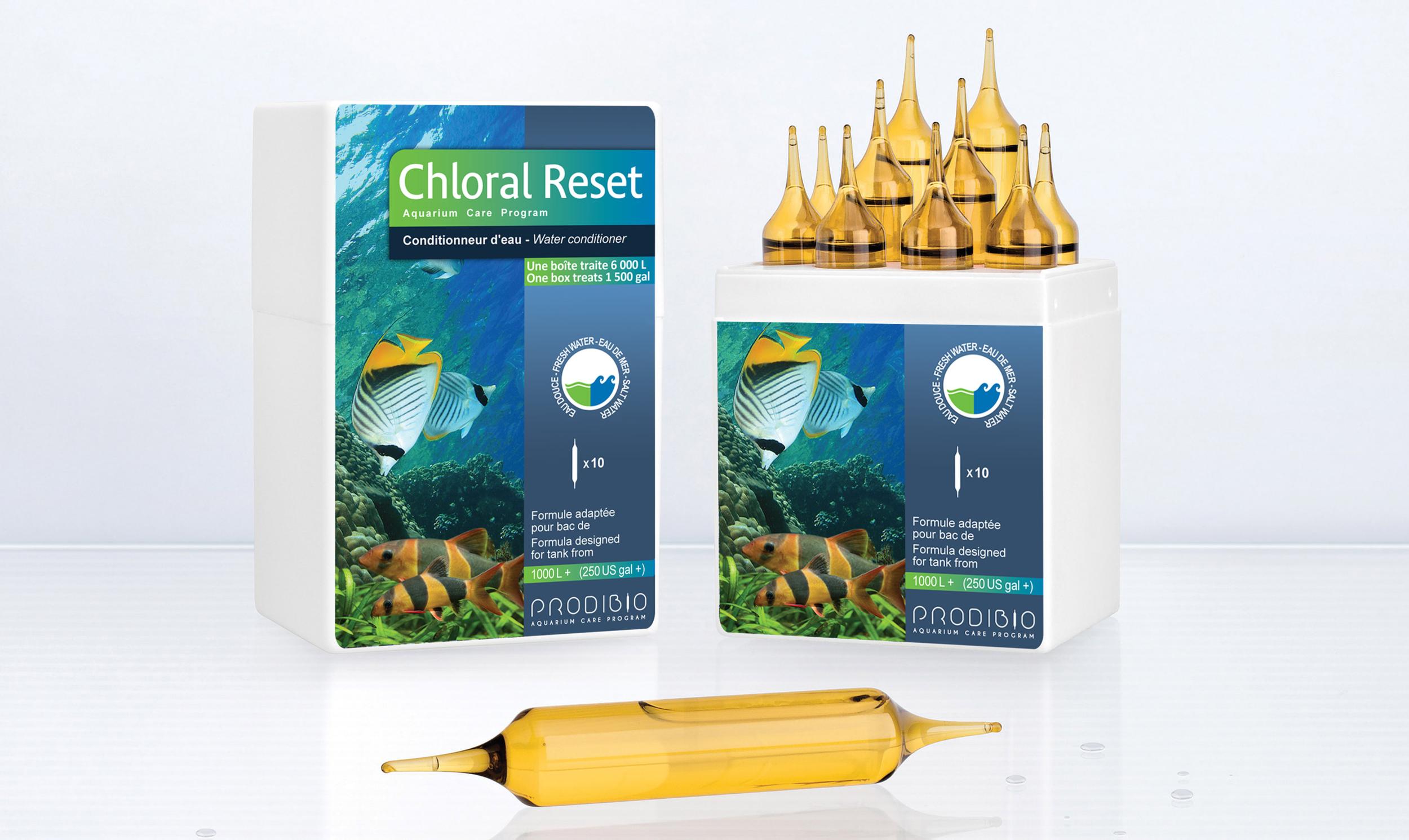 PRODIBIO Chloral Reset Pro 10 ampoules conditionneur d\'eau pour eau douce et eau de mer
