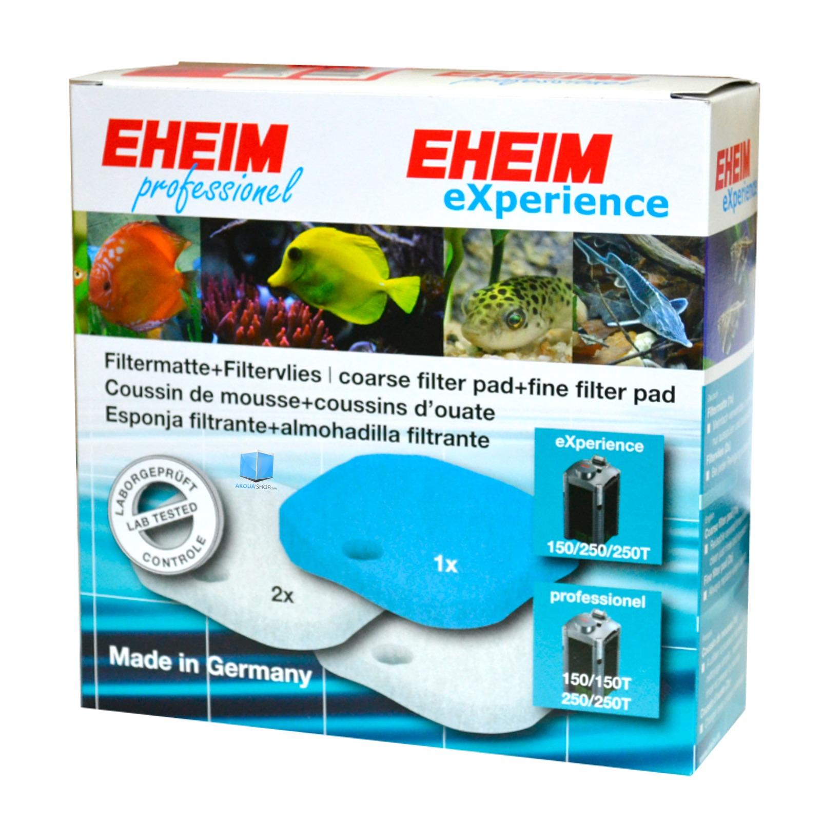 EHEIM 1 coussin de mousse bleu + 1 coussin d\'ouate pour filtre Eheim 2124, 2222, 2224, 2322, 2324, 2422, 2424