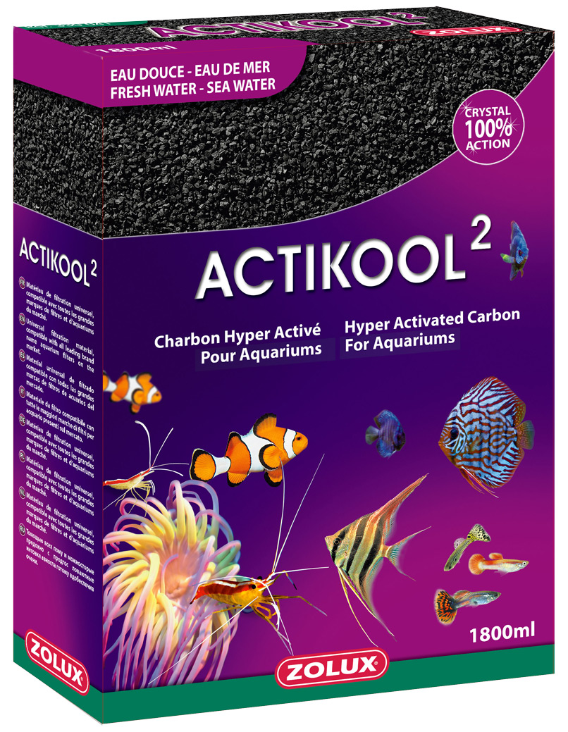 ACTIZOO ActiKool 2 1,8L charbon super actif pour la clarification et l\'absorbtion des toxines en aquarium d\'eau douce et d\'eau de mer