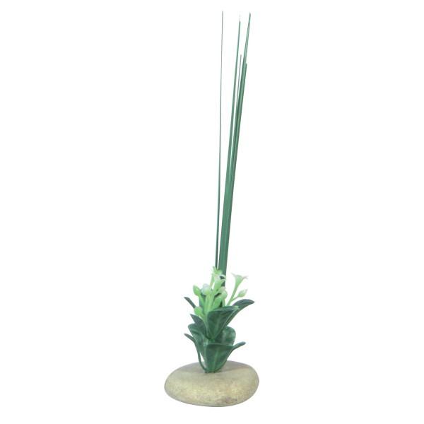 D coration pour aquarium galets avec herbes pm 16 cm for Aquariophilie en ligne