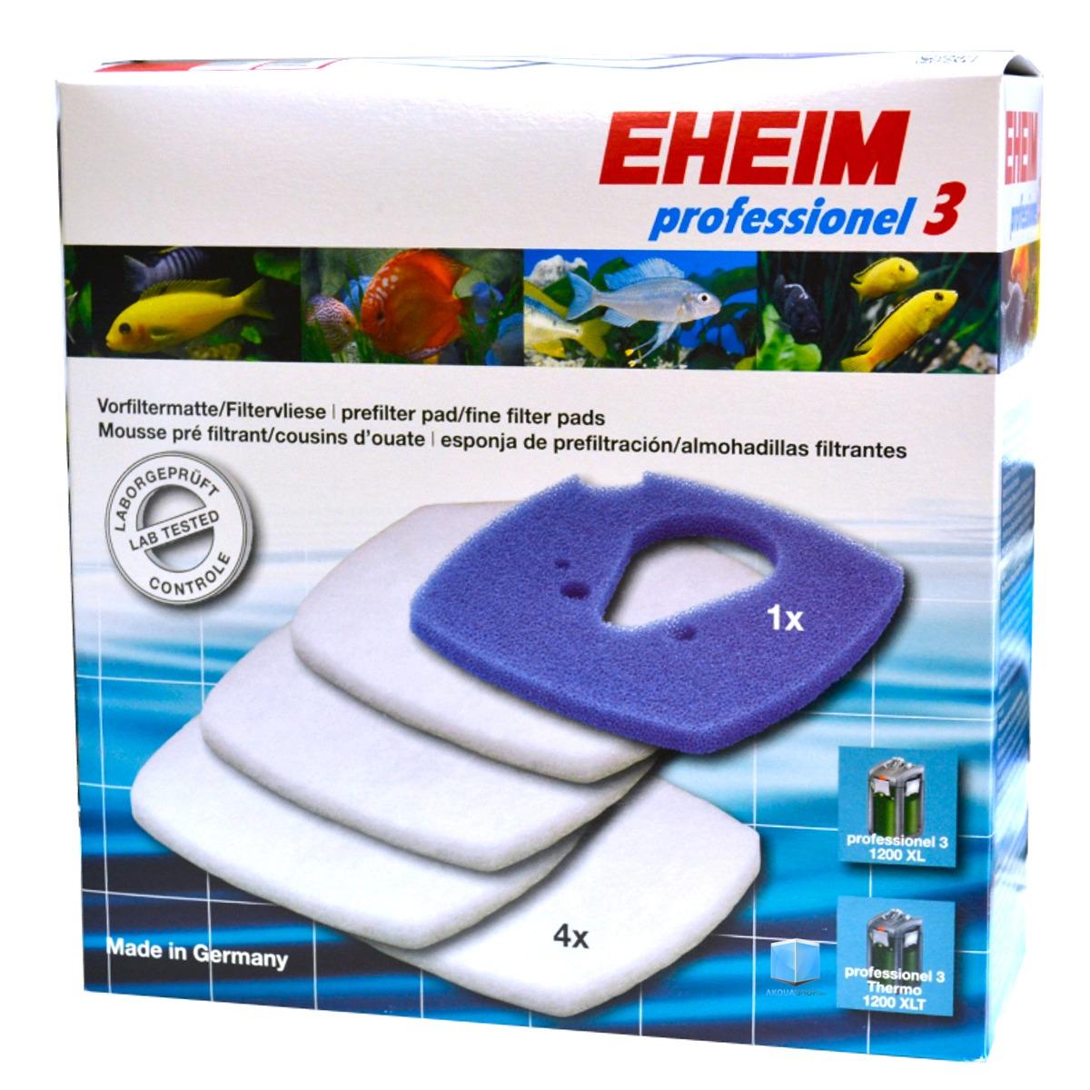 EHEIM 1 coussin de mousse bleu + 4 coussins d\'ouate pour filtre Professionel 3 2080, 2180