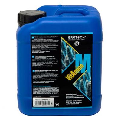 GROTECH VitAmino M 5 L solution liquide contenant 12 vitamines et 20 acides aminés pour poissons et invertébrés marins