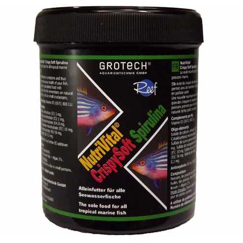 GROTECH NutriVital CrispySoft Spirulina 0,6 à 0,9 mm 285 ml nourriture sous forme de chips à base d\'algue Spirulina pour poissons marins