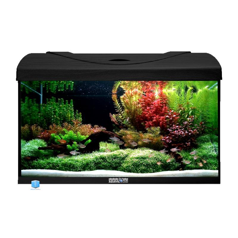 Aquavie startup 60 noir aquarium de 54l tout quip 60 x for Aquarium en ligne