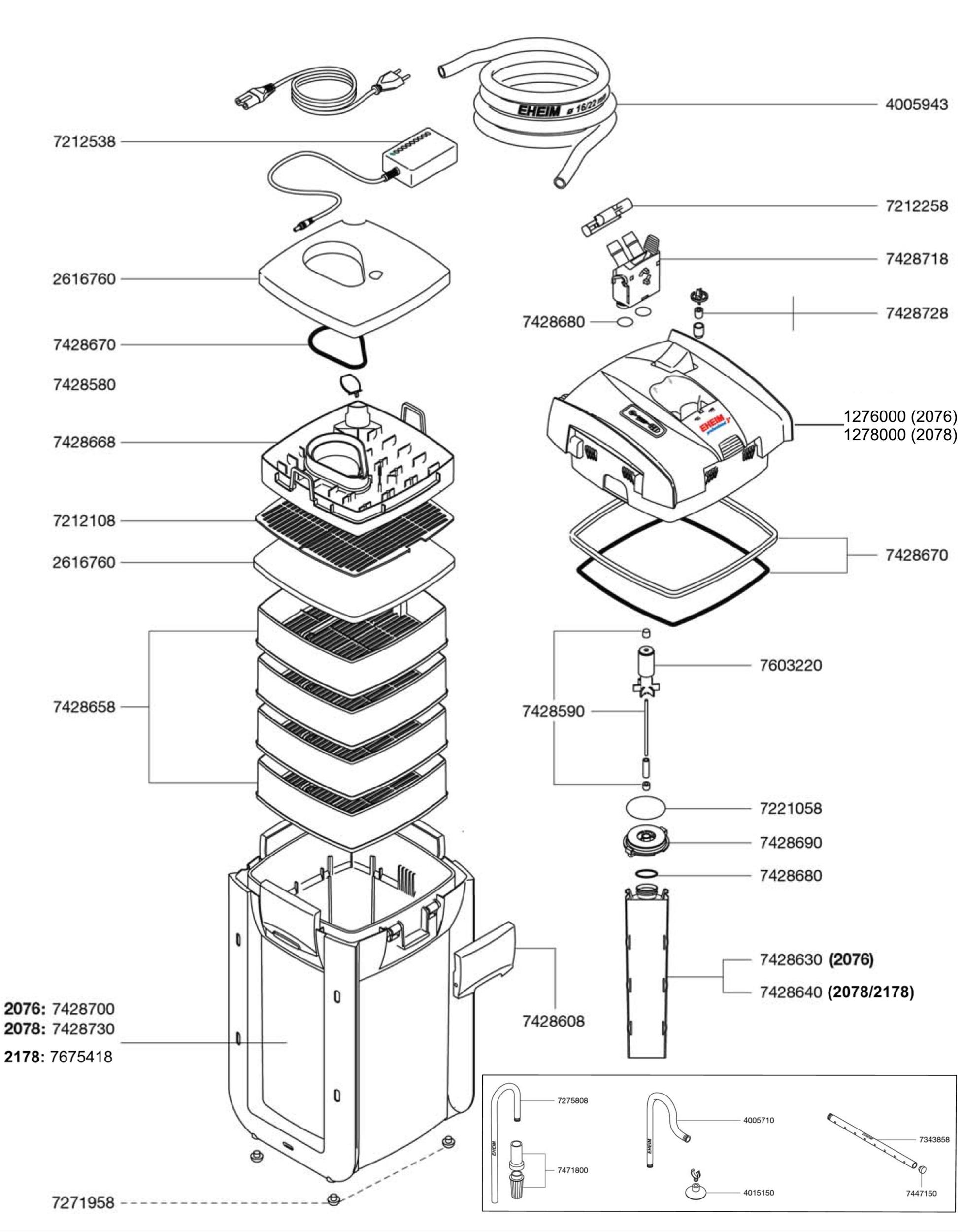 EHEIM Pièces détachées pour filtre externe Eheim Professionel 3e 2076, 2078 et 2178
