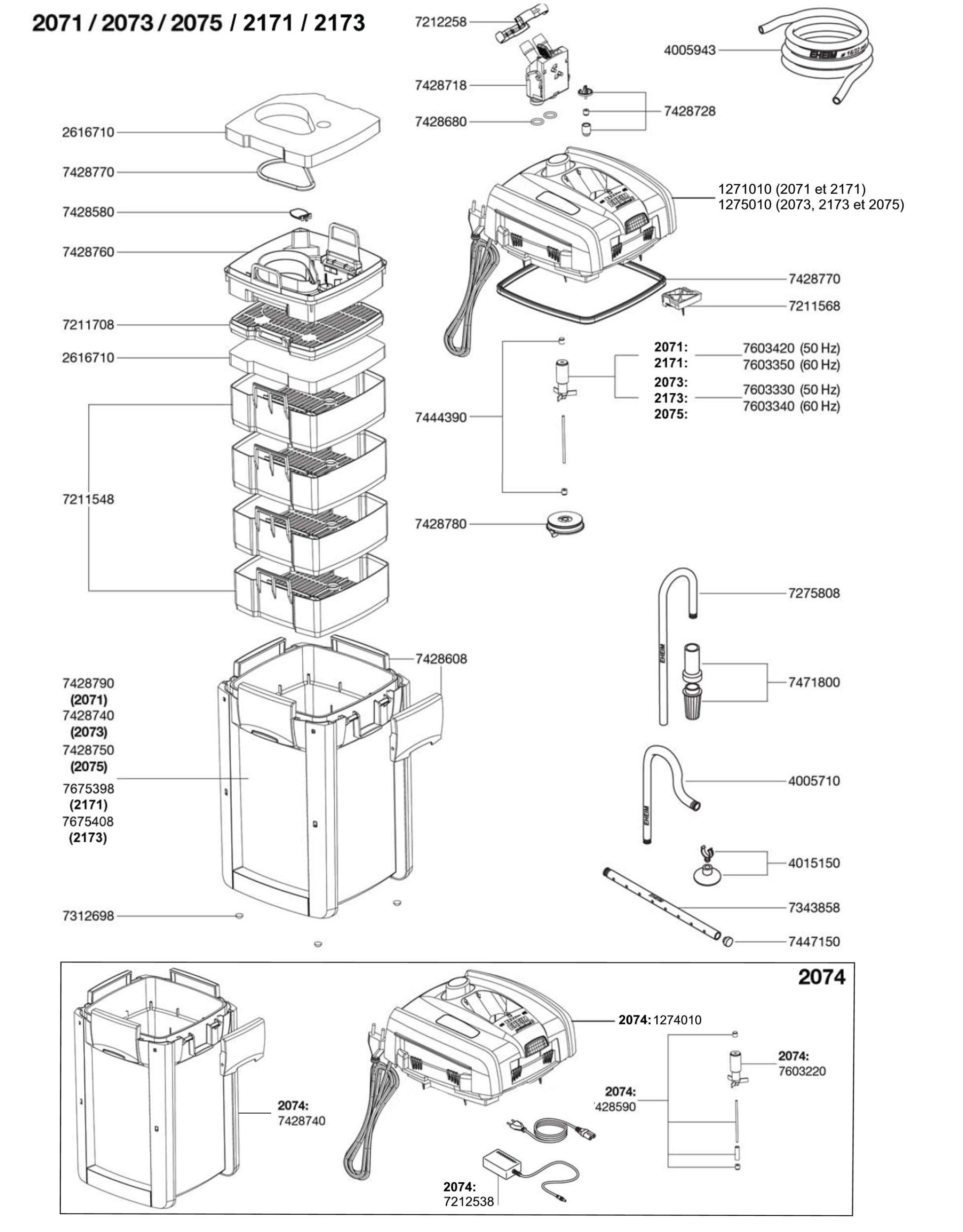 pièces-détachées-eheim-2071-2171-2073-2173-2074-2075