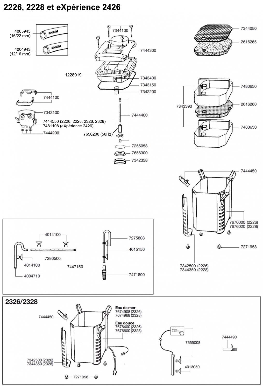 EHEIM Pièces détachées pour filtre externe Eheim Professionel 2 2226, 2228, 2326, 2328 et eXpérience 2426