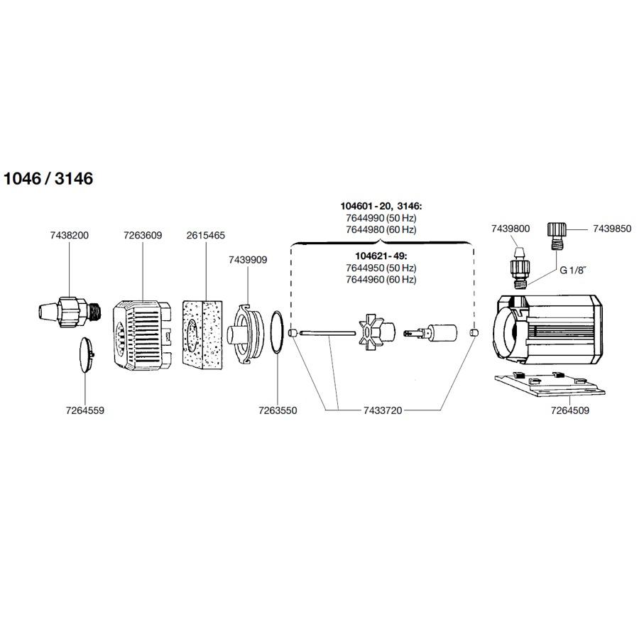 EHEIM Pièces détachées pour pompe Eheim Universal 300 (1046 et 3146)