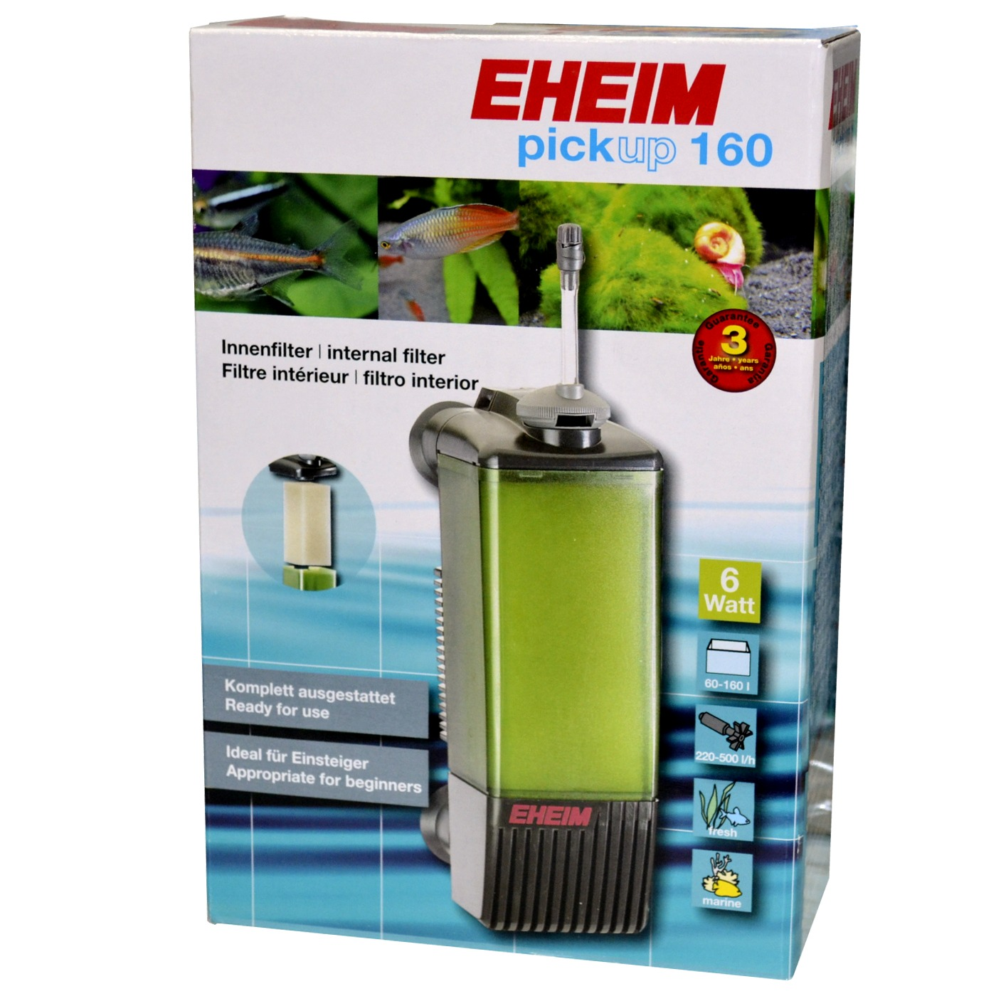 Eheim pickup 160 filtre interne pour aquarium de 60 160 for Filtre petit aquarium