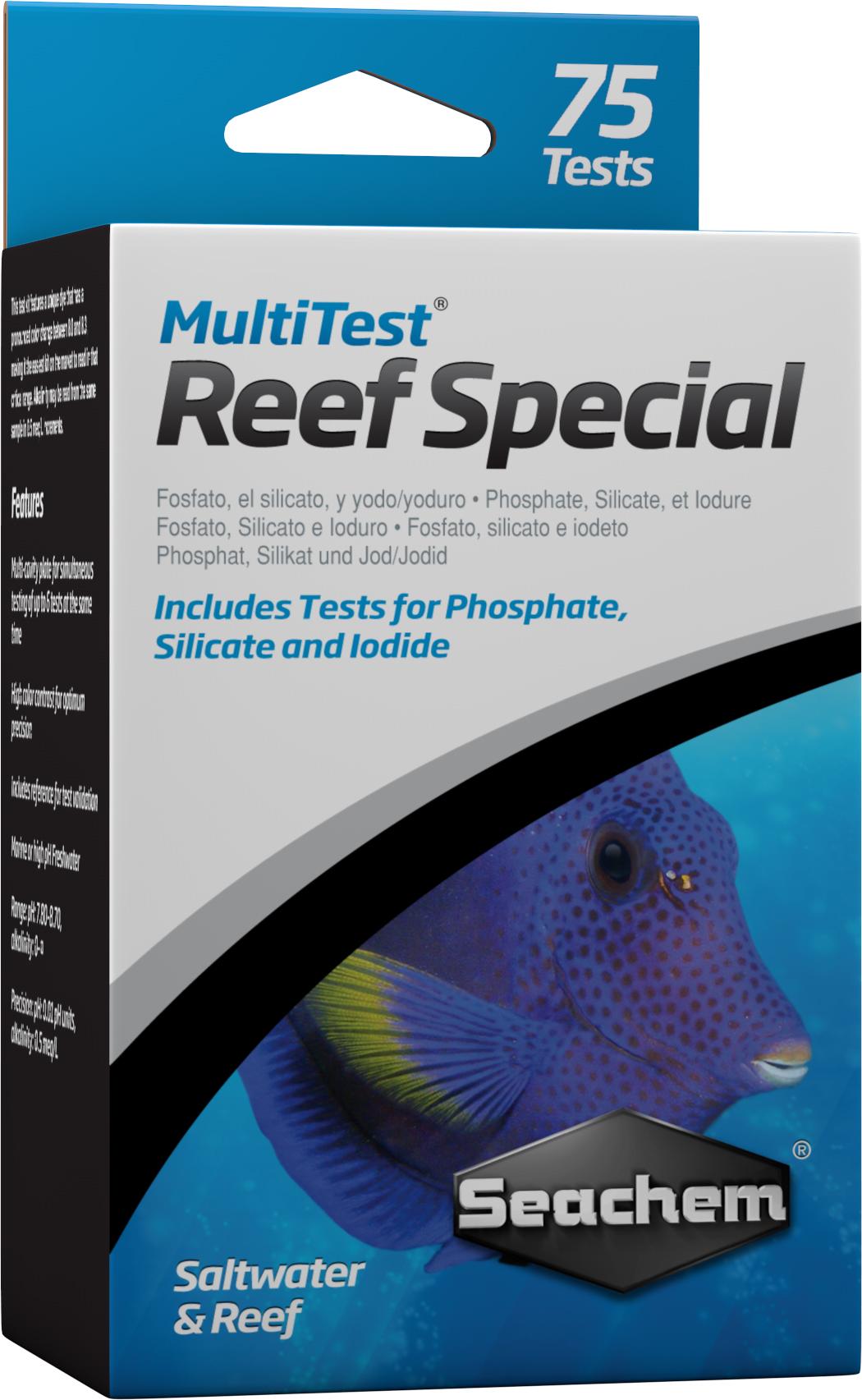 SEACHEM MultiTest Special pour le test précis de la teneur en Iode, PO4 et Silicate en aquarium d\'eau de mer. 75 tests possibles