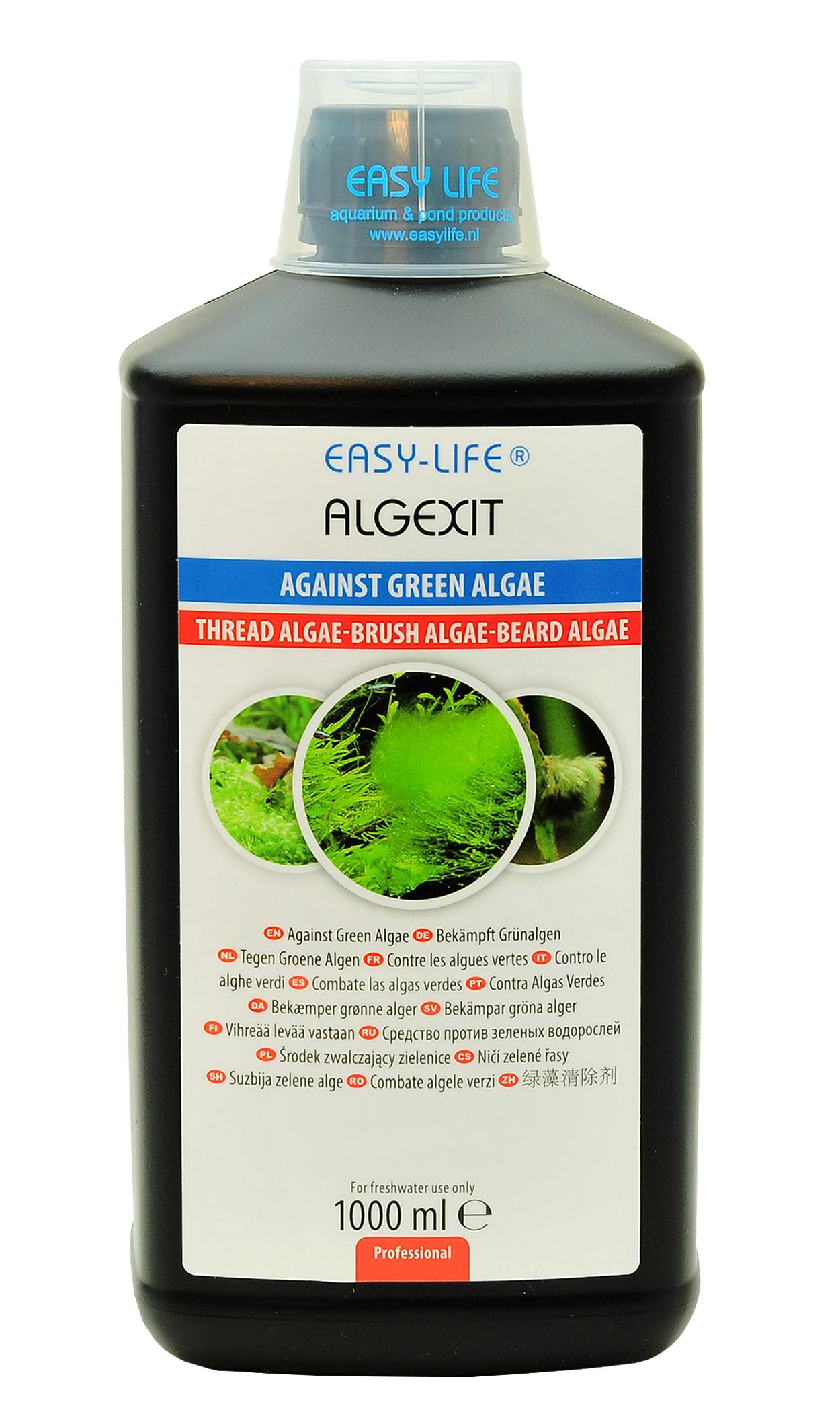 EASY-LIFE AlgExit 1L élimine tous types d\'algues vertes dans les aquariums. Traite jusqu\'à 10000 litres.