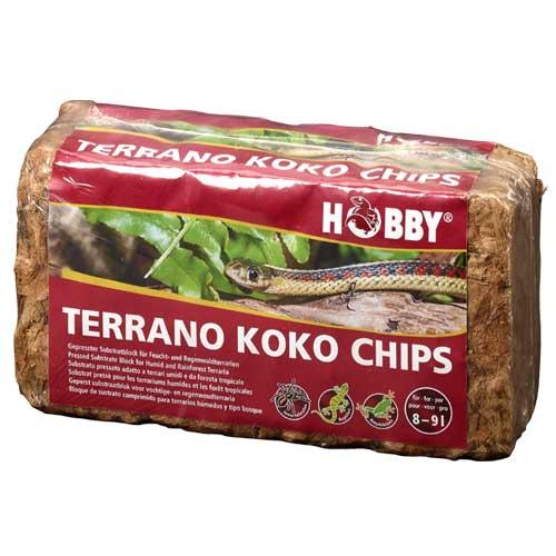 HOBBY Terrano Koko Chips 650 gr. substrat pressé pour les terrariums humides et les forêt tropicale