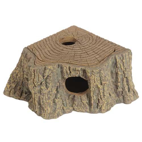 HOBBY Grotte d\'angle Stump 17 x 13 x 5 cm cachette parfaite pour les petits animaux de terrarium
