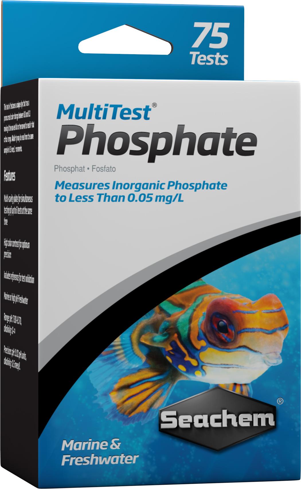 SEACHEM MultiTest PO4 pour le test précis du taux de Phosphate en aquarium d\'eau douce et d\'eau de mer