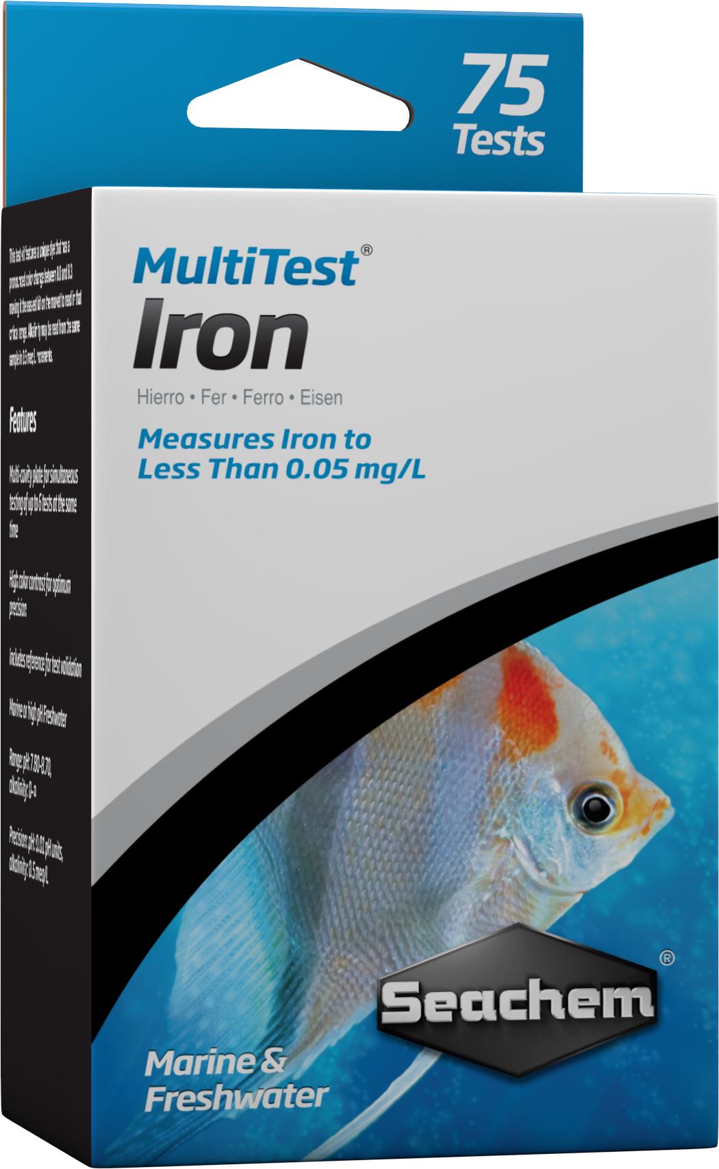 SEACHEM MultiTest Iron pour le test précis de la teneur en Fer en aquarium d\'eau douce et d\'eau de mer