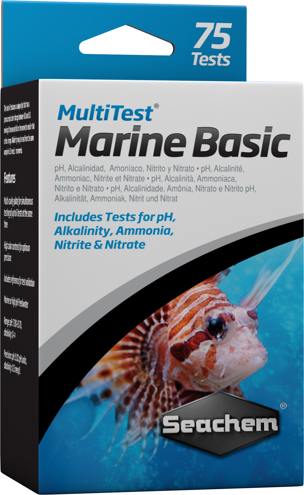 SEACHEM MultiTest Marine Basic pour le test précis du taux de pH, KH, NO2 et NO3 en aquarium d\'eau de mer. 75 tests possibles
