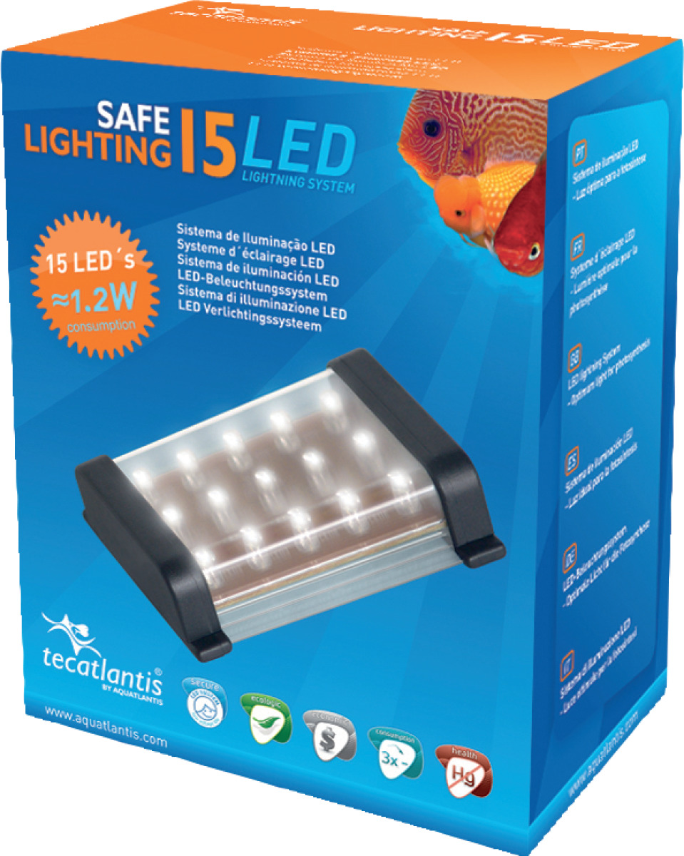 AQUATLANTIS Safe Lighting bloc d\'éclairage 15 LEDs 1,2W pour aquarium d\'eau douce