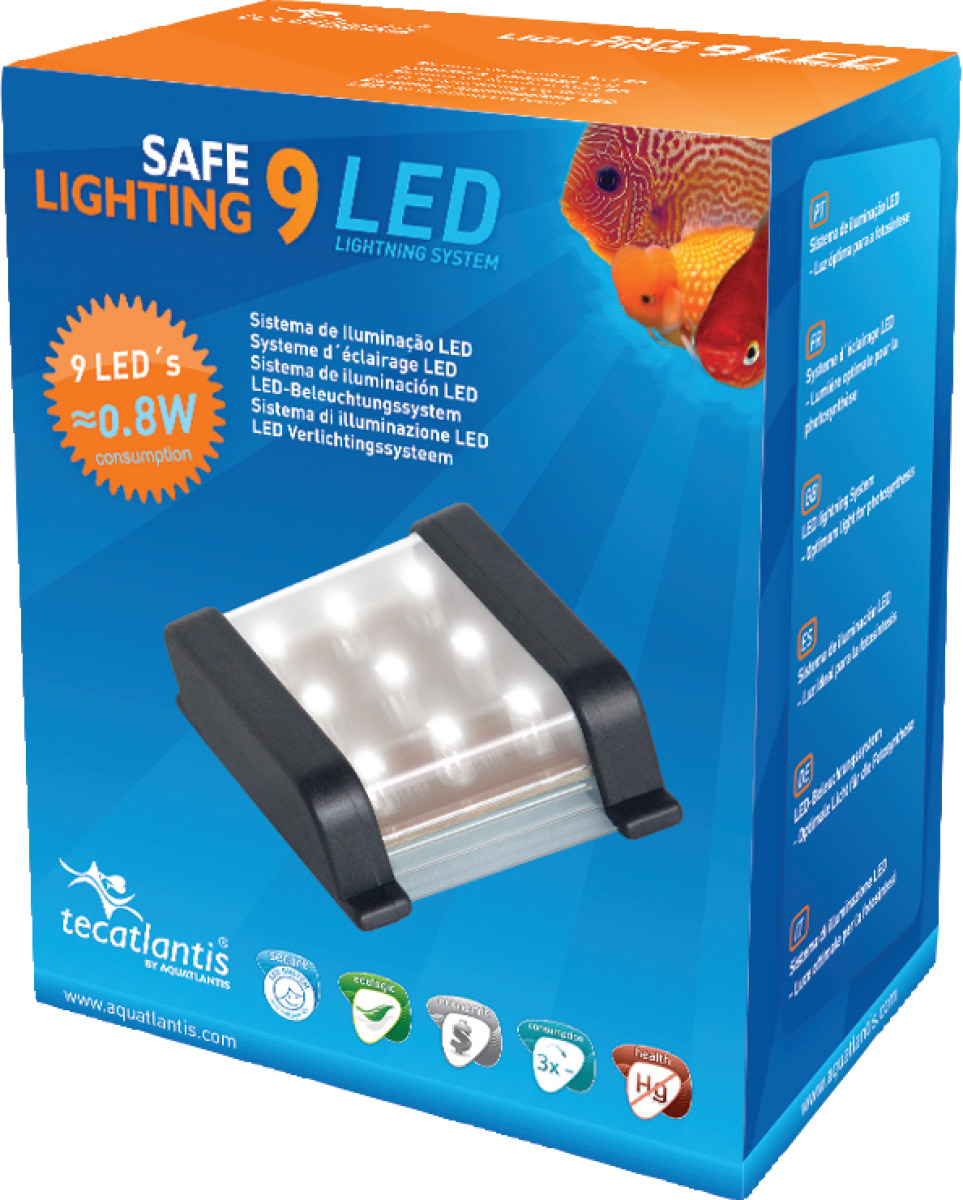 AQUATLANTIS Safe Lighting bloc d\'éclairage 9 LEDs 0,8W pour aquarium d\'eau douce
