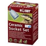 HOBBY Ceramic Socket Set ensemble complet douille céramique E27, support avec joint à rotule, câble 2 m et interrupteur pour ampoule jusqu'à 300W