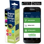 VELDA Aqua Test Strips 6 en 1 tests pour bassin pH, Gh, Kh, NO2, NO3, Chlore