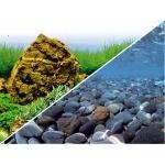 """Poster d'aquarium à la coupe pour aquarium """"Fond de rivière"""" ou """"Aquarium planté"""", imprimé sur deux faces. Hauteur 29, 45 ou 60 cm"""