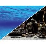 """Poster d'aquarium à la coupe pour aquarium """"Océan"""" ou """"Racines sur fond noir"""", imprimé sur deux faces. Hauteur 29, 45 ou 60 cm"""