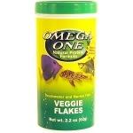 OMEGA ONE Veggie Flakes 28 gr. nourriture en flocons à base d'algues fraiches et spiruline pour poissons d'eau douce et marins