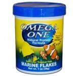 OMEGA ONE Marine Flakes 28 gr. nourriture en flocons à base de fruits de mer et spiruline pour poissons marins