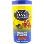 OMEGA ONE Marine Flakes Garlic 148 gr. nourriture en flocons base à de fruits de mer et spiruline et d'ail pour poissons marins