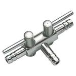 Robinet métal HOBBY 2 sorties pour tuyau d'air 4/6 mm