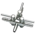Robinet métal HOBBY 3 sorties pour tuyau d'air 4/6 mm