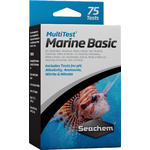 SEACHEM MultiTest Marine Basic pour le test précis du taux de pH, KH, NO2 et NO3 en aquarium d'eau de mer. 75 tests possibles