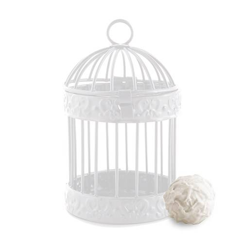 Petite cage à oiseau blanche