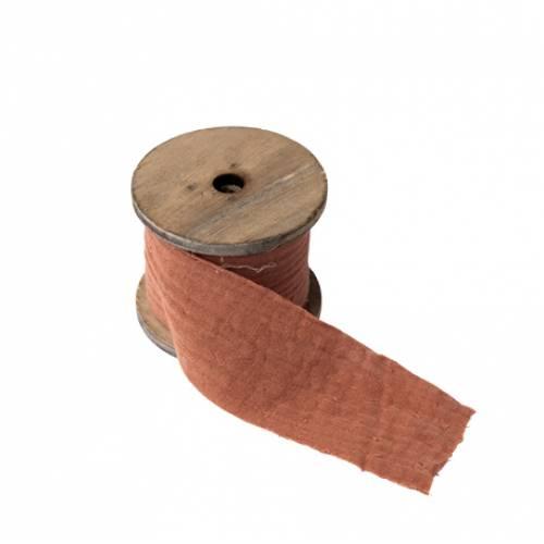 Ruban gaze de coton vieux rose
