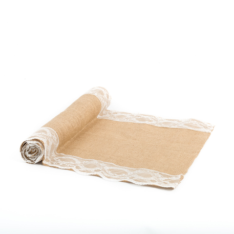 Chemin de table jute et bordure dentelle 28 cm * 3 m