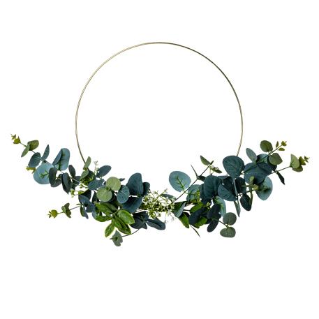 Couronne Eucalyptus et Fleurs artificielles
