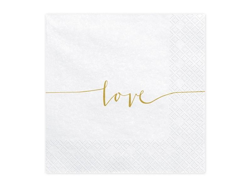 20 serviettes Love blanches et dorées