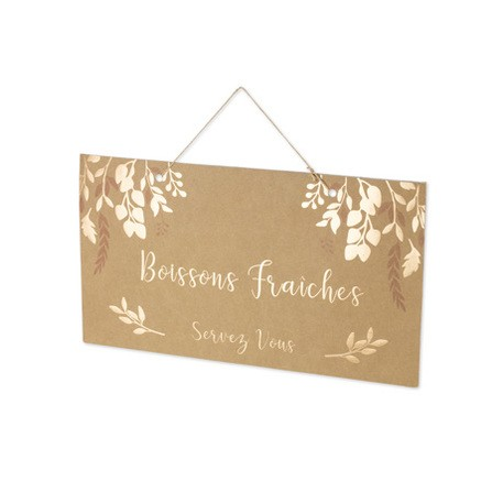 Pancarte Boissons Fraîches kraft & bronze